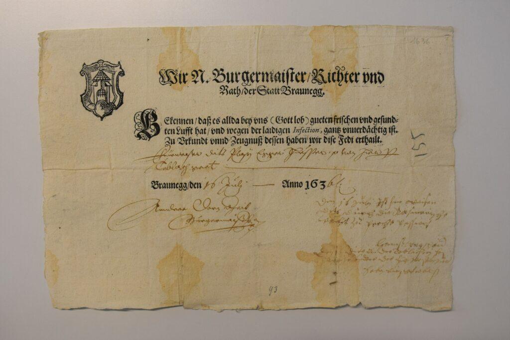 Fede di sanità della città di Brunico (c) Archivio storico della città di Brunico